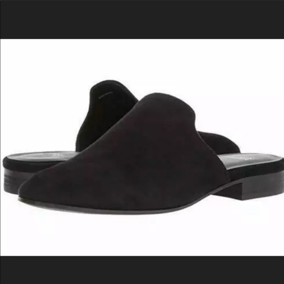 Eileen Fisher black suede dion mules